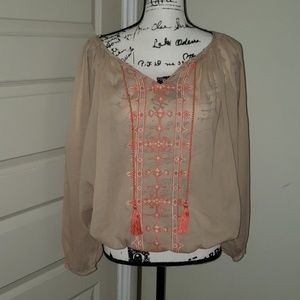 Lucky Brand  boho embroidered blouse